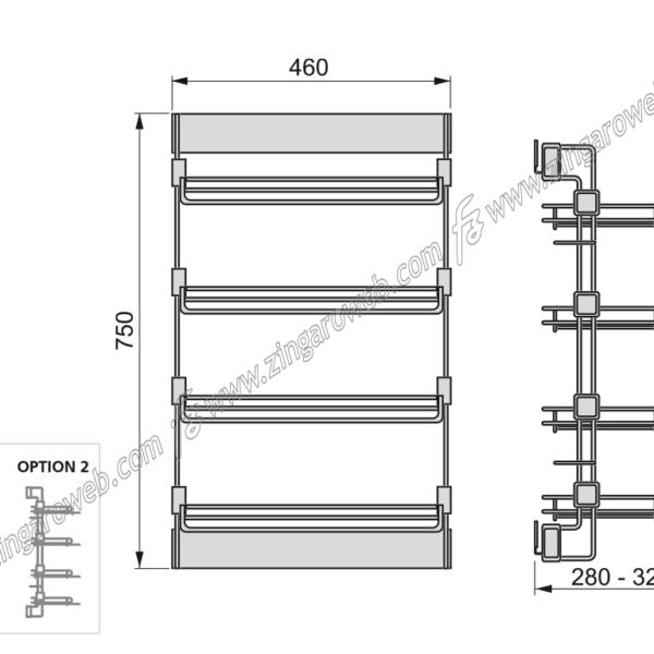 PORTA SCARPE LATERALE ESTRAIBILE DA 460x750x280-320 mm. MOKA RAL8019 DX prodotto da EMUCA