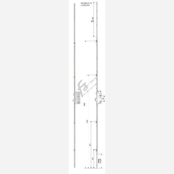 SERRATURA INFILARE SICURTOP MULTIPUNTO FRONTALE 16x168 mm. ENTRATA 35 mm. DA 1900-2400 mm. ZSL-ZINCO SILVER prodotto da AGB