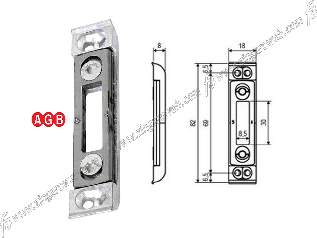 INCONTRO TOP ARIA AS9 ZSL REGISTRABILE CON PIASTRINO ACCIAIO VITI INCLINATE mm.18x82 prodotto da AGB