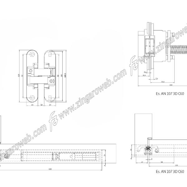 CERNIERA INVISIBILE AUTOCHIUDENTE 3REGOLAZIONI REVERSIBILE DA 110x24x21 mm. CROMO SATINATO prodotto da ANSELMI