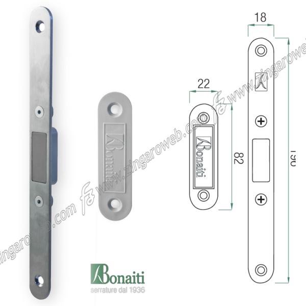"""DISTANZIALE MAGNETICO INVISIBILE """"DM3"""" mm.82x22x15h+PIASTRA MEDIANA mm.196x18 ABS NEUTRO GRIGIO prodotto da BONAITI"""