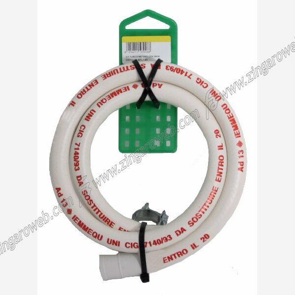 TUBO GAS METANO CON MANICOTTO+2 FASCETTE LUNGHEZZE 150/200 cm.