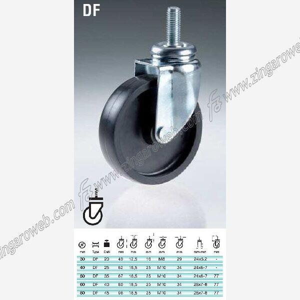RUOTA POLIAMMIDE PERNO FILETTATO 8MAx20mm PORTATA kg.20 DIAMETRO 30 mm. prodotto da CEBORA