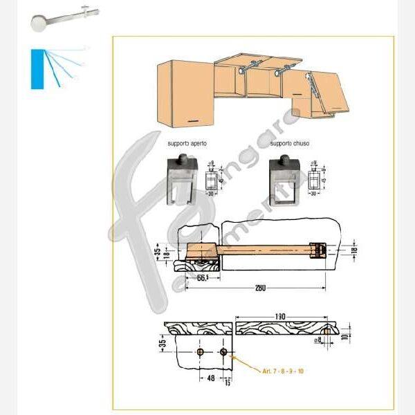 BRACCIO AUTOFRENANTE da 0-90° CON SUPPORTO LUNGHEZZA 28 cm. BIANCO DX prodotto da CEAM
