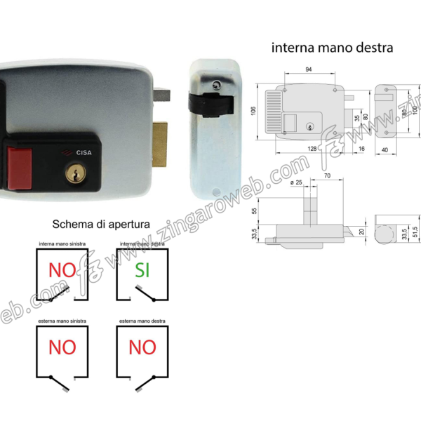 ELETTROSERRATURA APPLICARE PER CANCELLI CON SEGNALATORE mm.70 DX prodotta da CISA