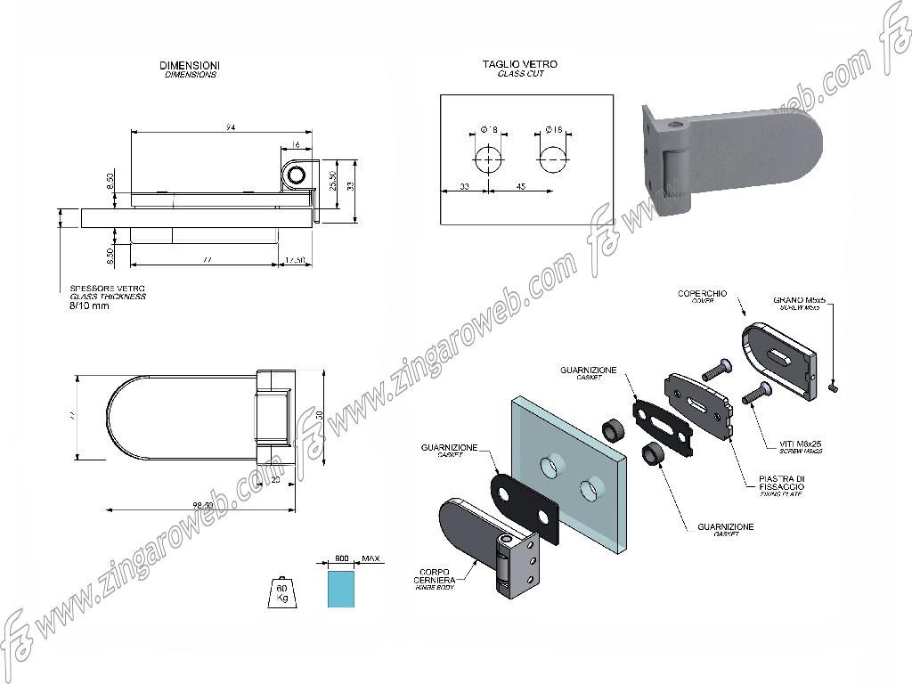 CERNIERA PER VETRO ORRIZZONTALE CON SUPPORTO SPESSORE 8-10 mm. CER109 Z3X-NIKEL SATINATO prodotto da COMIT