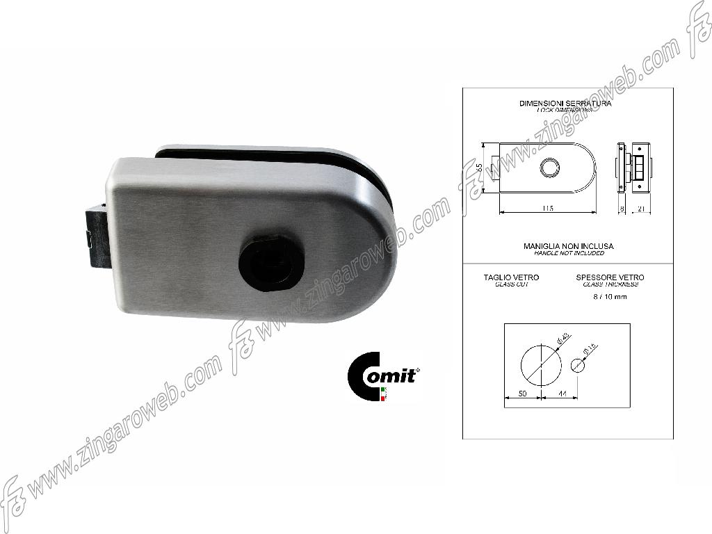 SERRATURA APPLICARE PER VETRO Q8 SOLO SCROCCO ENTRATA 50 mm.4B-INOX SATINATO prodotta da COMIT
