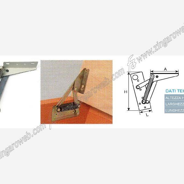 CERNIERE PER PANCA CON 2 MOLLE DX-SX DA 133x44x88 mm. BIANCO 2 PEZZI