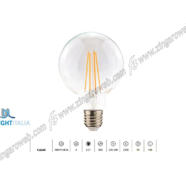 LAMPADA LED DL VIN LONG FIL GLOBO 95 220/240V 4W E27 2200K CLEAR prodotto da DAYLIGHT