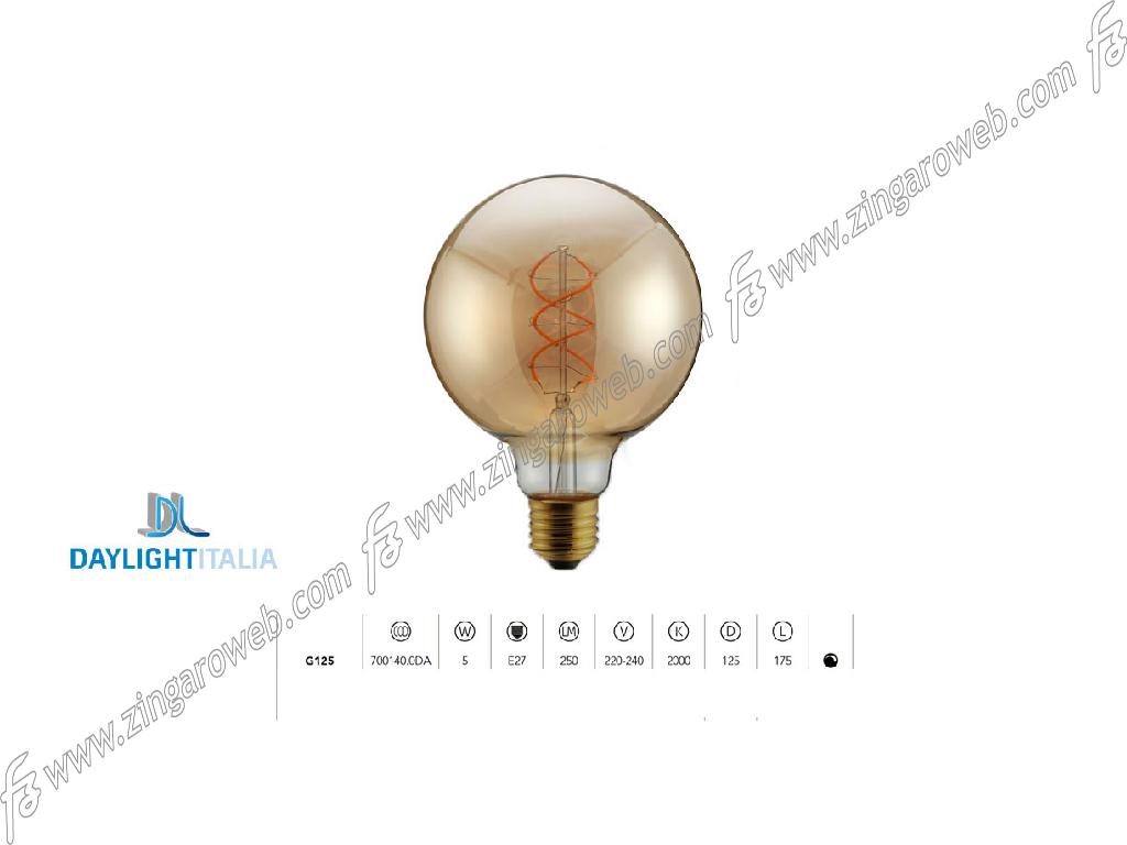 LAMPADA LED DL VINT FIL TM G125 220/240V 5W 2000K SPIRAL DIM GOLD prodotto da DAYLIGHT