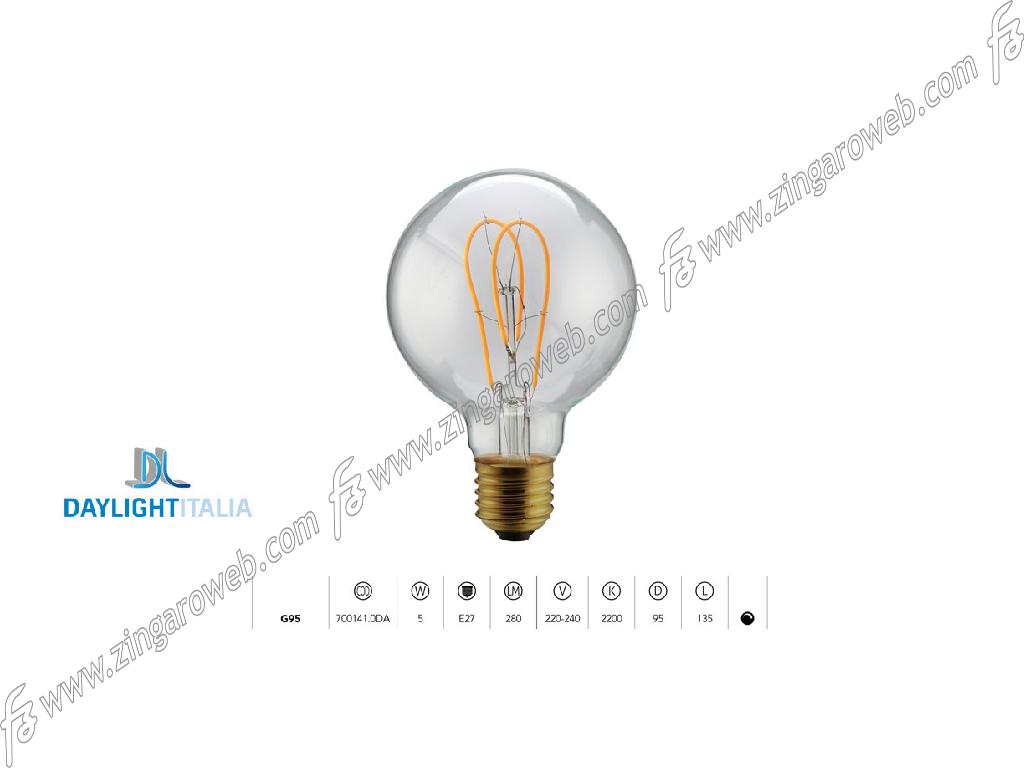 LAMPADA LED DL VINT FIL TM G95 220/240V 5W 2200K TWIN LOOP DIM CLEAR prodotto da DAYLIGHT