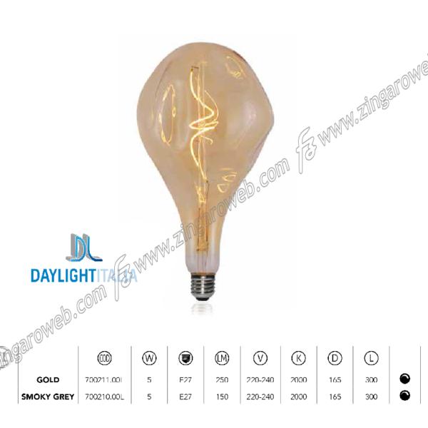 LAMPADA LED DL VINT FIL G165 BUMPED 220/240V E27-5w 250Lm 2000K SPIRAL DIM GOLD prodotto da DAYLIGHT