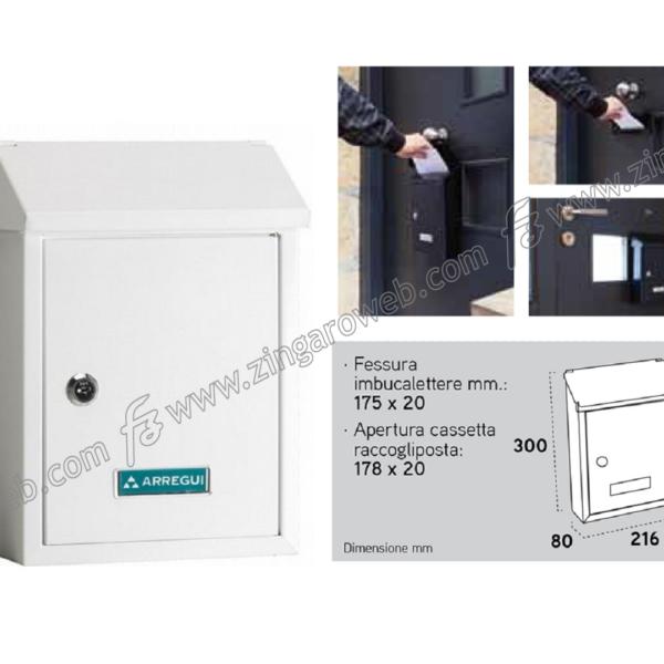 CASSETTA POSTALE A4-C5 CON TETTO mod.SMART mm.216x80x300h METALLO BIANCO prodotto da ARREGUI DOMUS