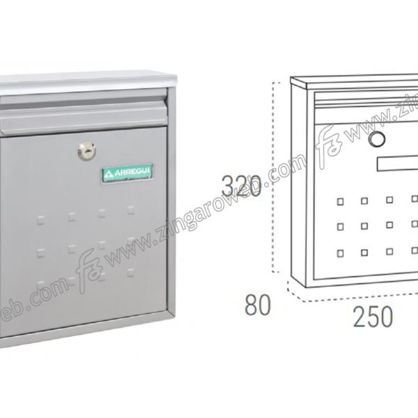 CASSETTA POSTALE LETTERE A4-C5 mod.DIME mm.250x80x320h METALLO ARGENTO prodotto da ARREGUI DOMUS