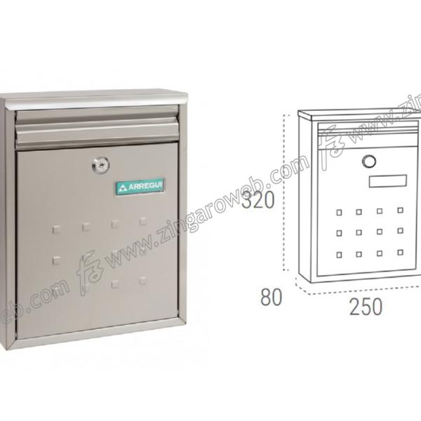 CASSETTA POSTALE LETTERE A4-C5 mod.DIME mm.250x80x320h ACCIAIO INOX prodotto da ARREGUI DOMUS