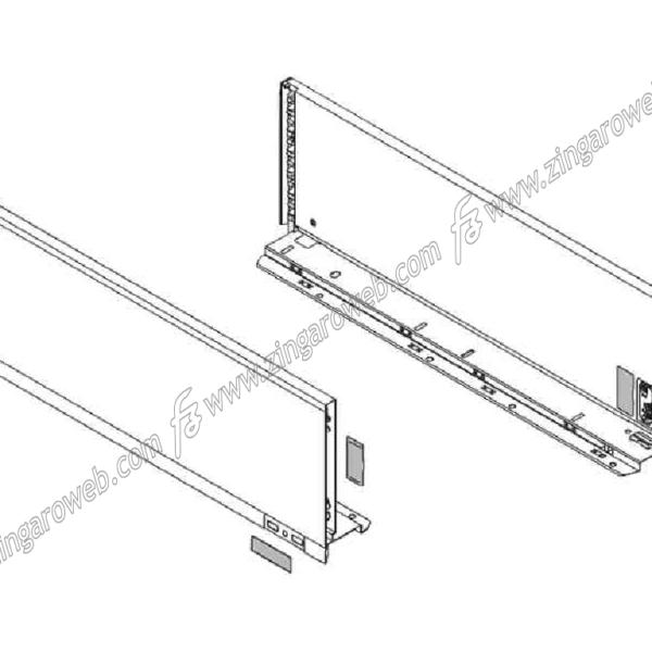 LEGRABOX SET SPONDINE BIANCO SETA R+L DA 400x176,8 mm. prodotto da BLUM