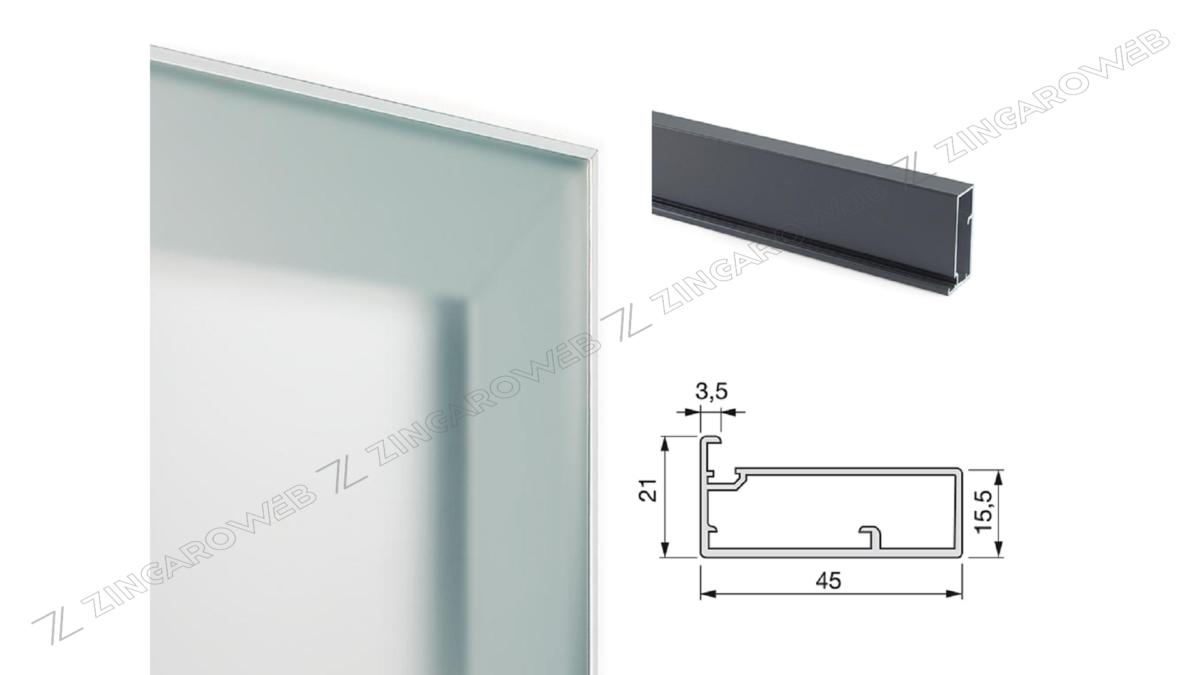 PROFILO PER ANTA mod.PLUS 11 mm.45x21x3,5 ASTA cm.235 ANODIZZATO LUCIDO prodotto da EMUCA