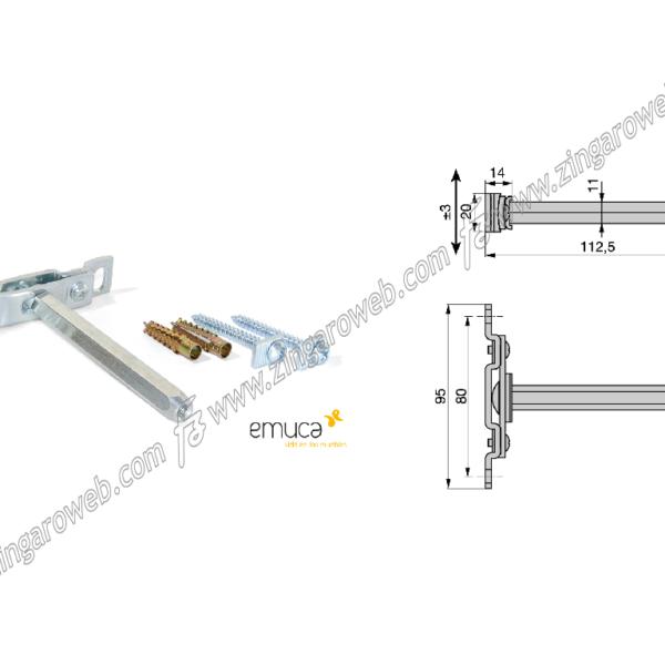REGGIMENSOLA PHANTOM A SCOMPARSA CON FISSAGGIO d.11x112L pz.2 prodotto da EMUCA