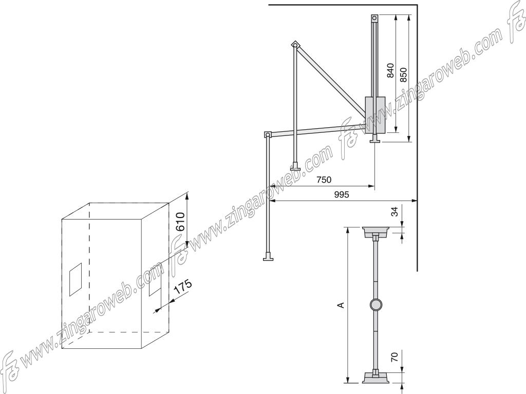 """APPENDIABITI PIEGHEVOLE """"HANG"""" DA 83/115 mm. MOKA RAL8019 prodotto da EMUCA"""
