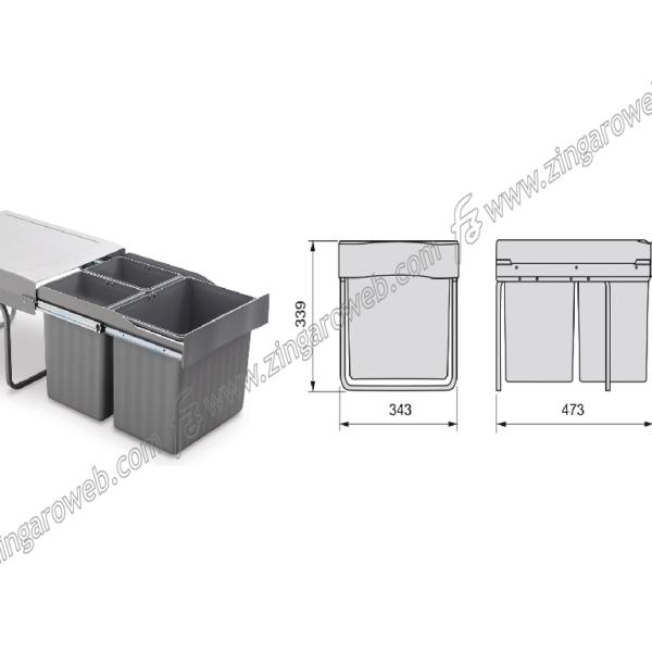 PATTUMIERE RACCOLTA DIFFERENZIATA 2x7,5+16Lt MANUALE mm.L343xH339xP473 GRIGIO prodotto da EMUCA