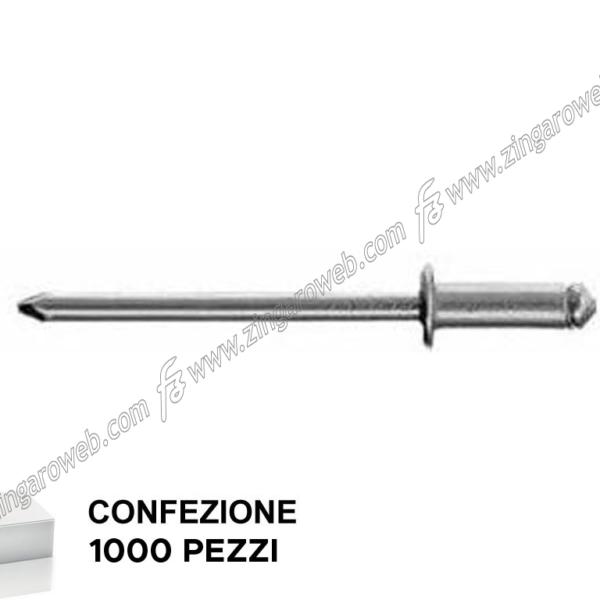 RIVETTO LEGA ALLUMINIO DIAMETRO 3 mm. LUNGHEZZA 10 mm. 1000 PEZZI prodotto da FAR