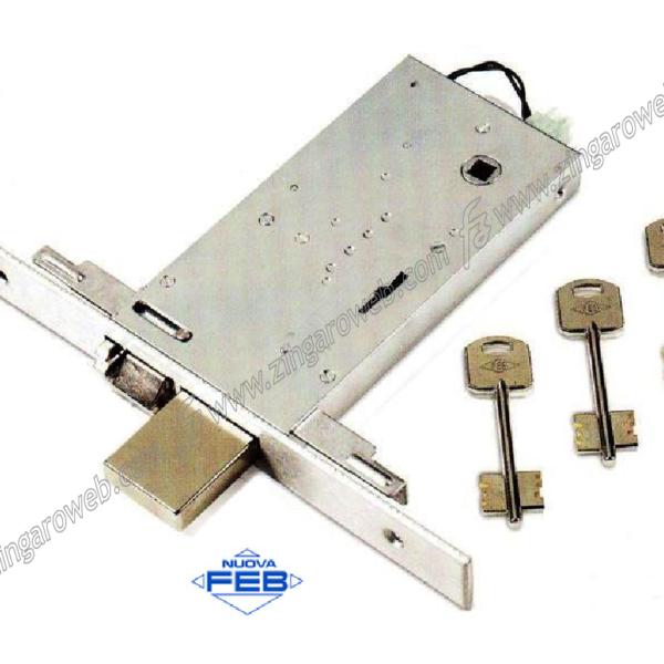 ELETTROSERRATURA INFILARE 35020 TRIPLICE DOPPIA MAPPA SCROCCO+2MANDATE FRONTALE 25 mm. ENTRATA 90 mm. prodotta da NUOVA FEB