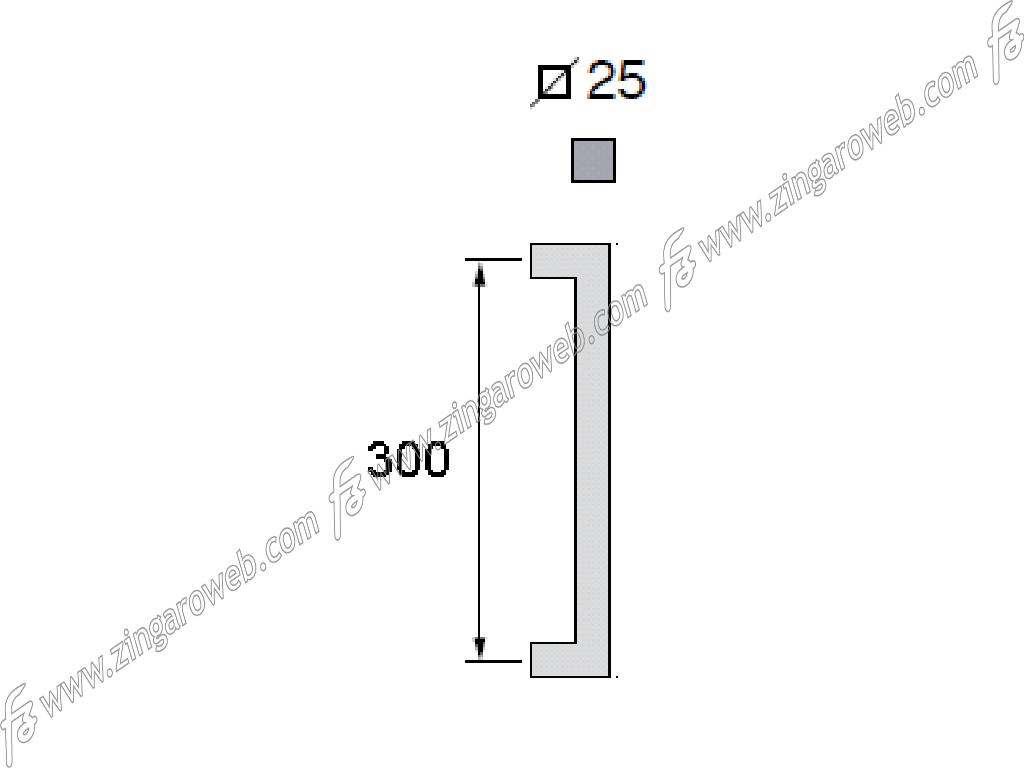 MANIGLIONE GEORGIA Q mm.25x25 INTERASSE 300 mm.325x65h AISI304 INOX RAL9005 NERO OPACO prodotto da FIMET MANIGLIE