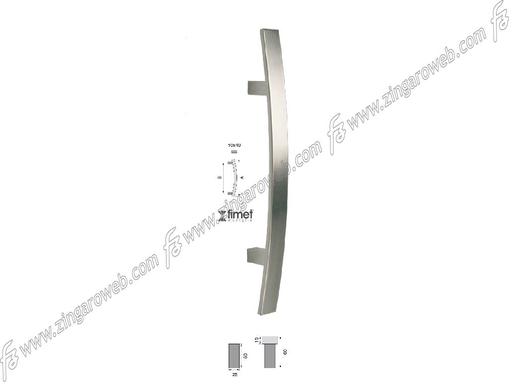 MANIGLIONE FLORIDA 40x10mm INTERASSE 300 mm.500x55h AISI304 INOX SATINATO FIMET MANIGLIE