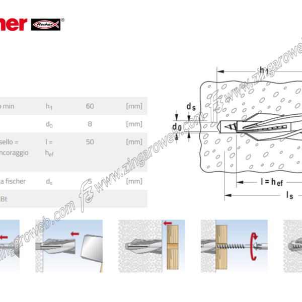GB 8 TASSELLO NYLON PER CALCESTRUTTO CELLULARE prodotto da FISCHER