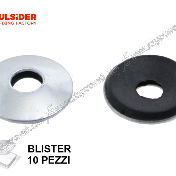 BLISTER RONDELLA TONDA CON GUARNIZIONE FERRO ZINCATA 10 pz. DIAMETRO INTERNO/ESTERNO 6/19 mm. prodotto da FRULSIDER
