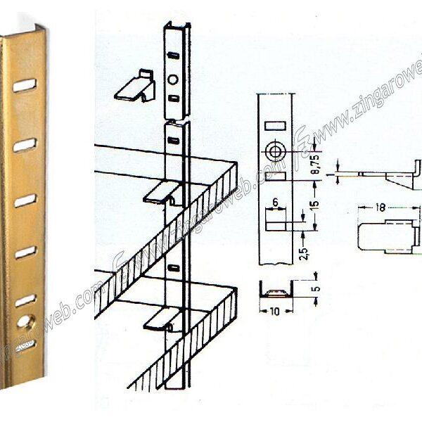 CREMAGLIERA REGGIMENSOLA PIATTA 12x4 mm. ALTEZZA 1625 mm. prodotto da G.B. MANZONI