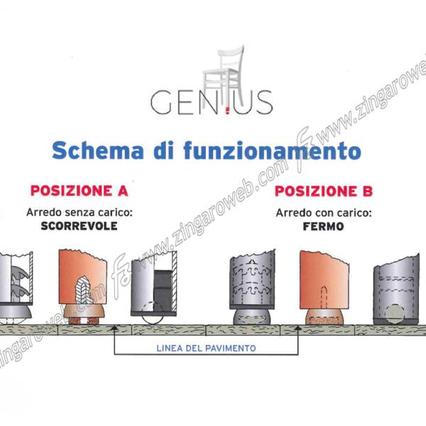 PATTINO MOLLEGGIATO SCIVOLANTE SLIDING PLUG1 C MARRONE pz.4 DA 20 mm. prodotto da GENIUS