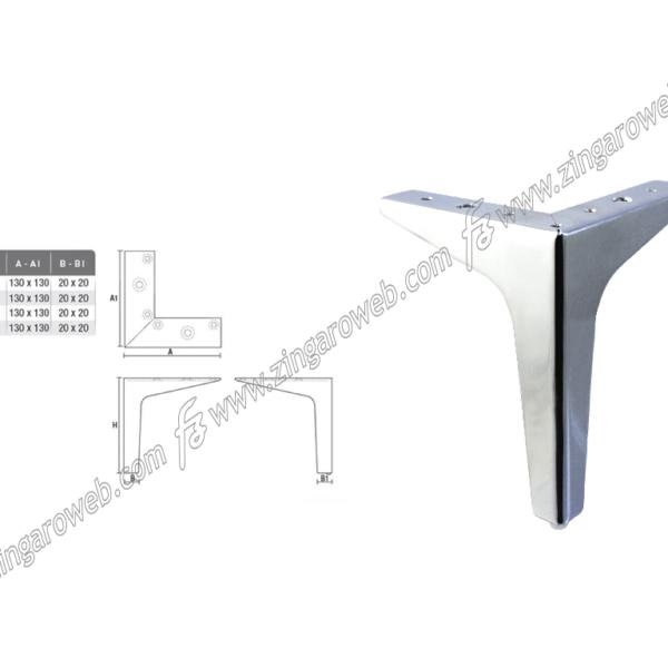 PIEDE METALLO CROMO LUCIDO 130x130/20x20 mm. ALTEZZA 17 cm. prodotto da GPI