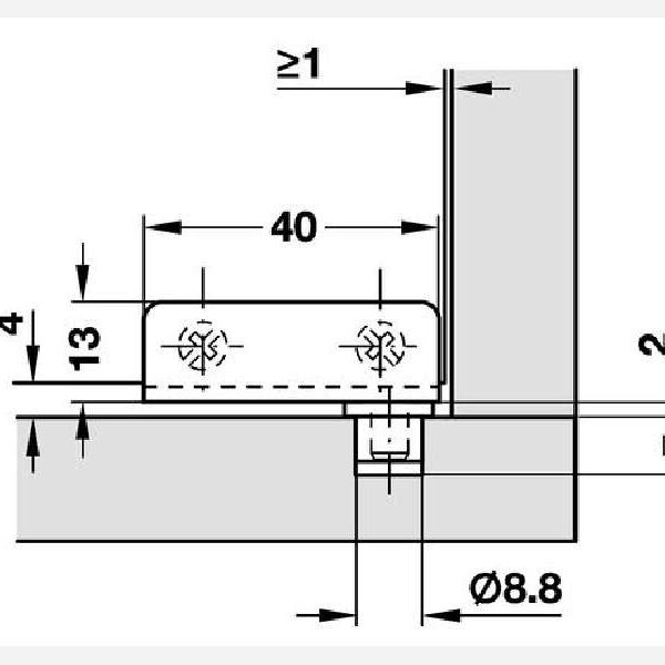 CERNIERE CRISTALLO A FILO BUSSOLA PLASTICA 40x13 mm. SPESSORE 4,7 mm. ACCIAIO CROMO LUCIDO prodotto da HAFELE