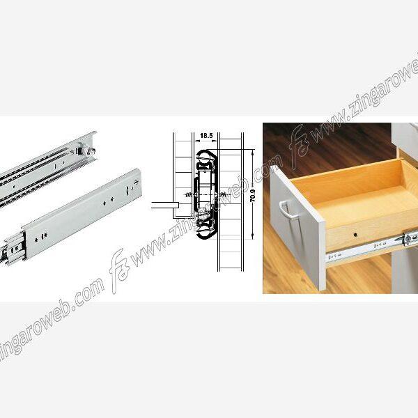 GUIDE CON SFERE ESTRAZIONE TOTALE ALTEZZA 70,9 mm. PORTATA DA 230 kg. ZINCATO DA 100 cm. prodotto da HAFELE