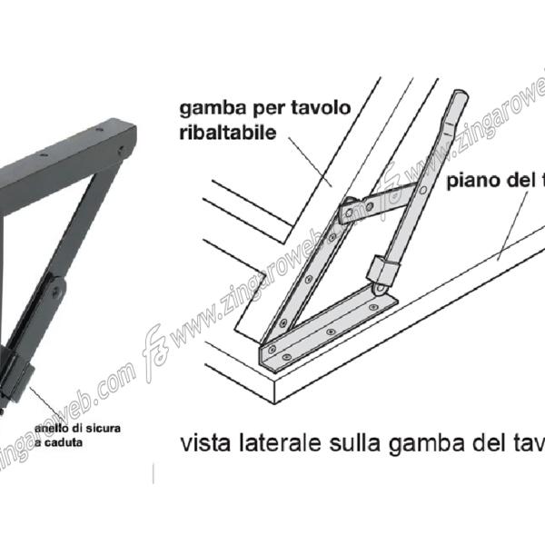 SUPPORTI TAVOLO AD ANGOLO PIEGHEVOLI+BLOCCO DA 25x25x3 mm. LUNGHEZZA 200 mm. NERO 2 PEZZI prodotto da HAFELE