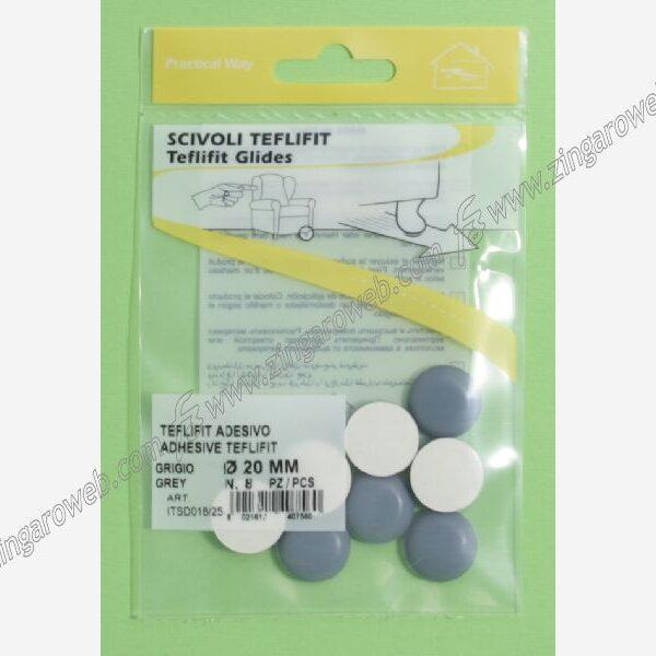 BLISTER SCIVOLI IN TEFLON PTFE ADESIVI GRIGIO mm.20-25-30-40-50 prodotto da ITALFELTRI