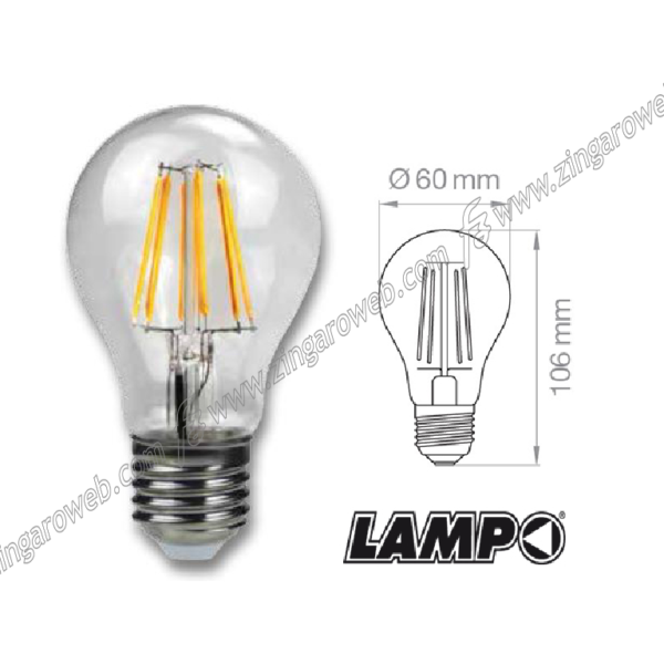 LAMPADA LED GOCCIA FILAMENTO 230V E27-8w 900Lm 360° prodotto da LAMPO