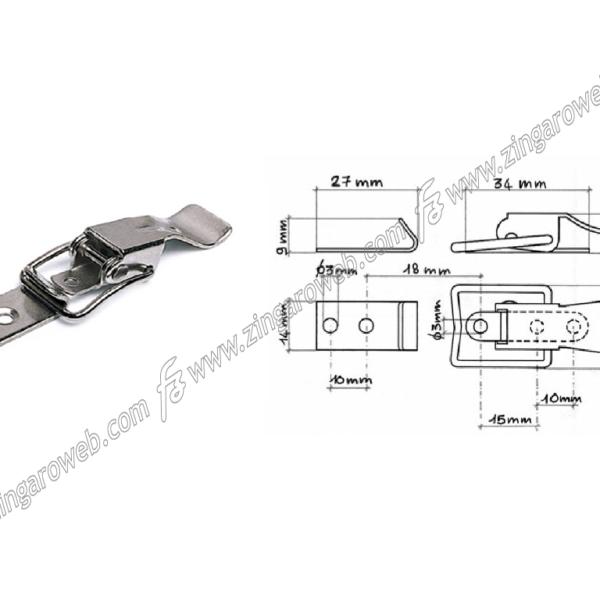 CHIUSURA LEVA CON INCONTRO 52x15x15 mm. FERRO ZINCATO prodotto da MACO