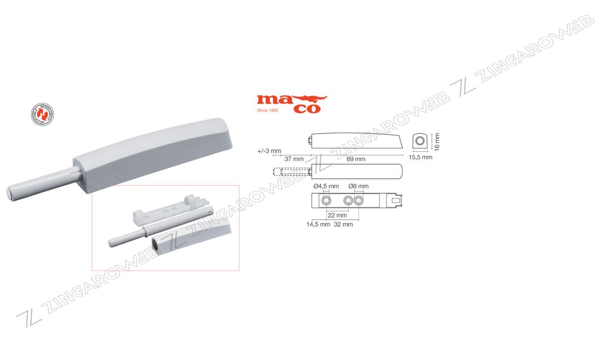 CRICCHETTO A SCATTO M-PUSH REGOLABILE CON MAGNETE mm.89+37x15,5 prodotto da MACO