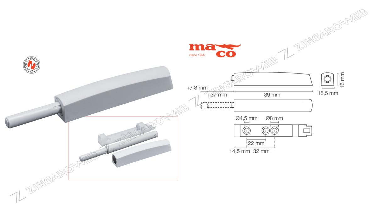 CRICCHETTO A SCATTO M-PUSH REGOLABILE CON PARACOLPO mm.89+37x15,5 prodotto da MACO