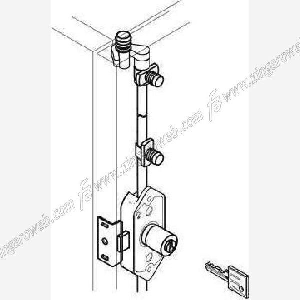 SERRATURA APPLICARE ASTE ROTANTI 3 CHIUSURE METALLO+CILINDRO DIAMETRO 20 mm. NICHELATO prodotto da MERONI