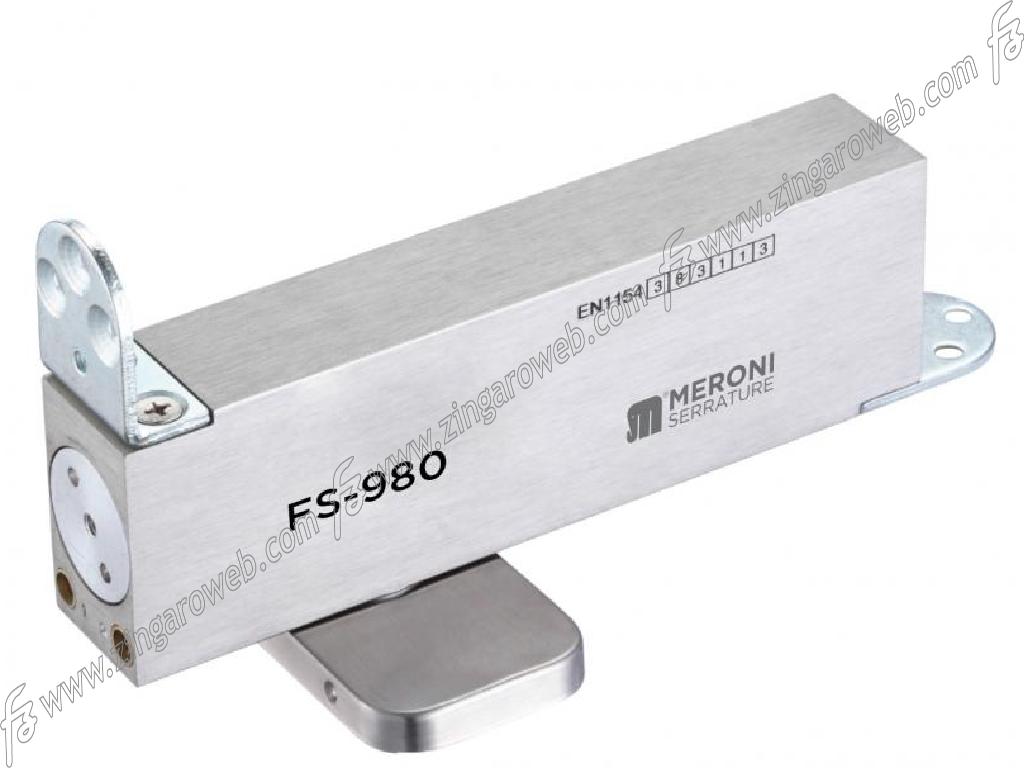 CERNIERA CHIUDIPORTA A PAVIMENTO FS990 PER LEGNO mm.184x64x40h INOX FORZA EN3/EN5 prodotta da MERONI