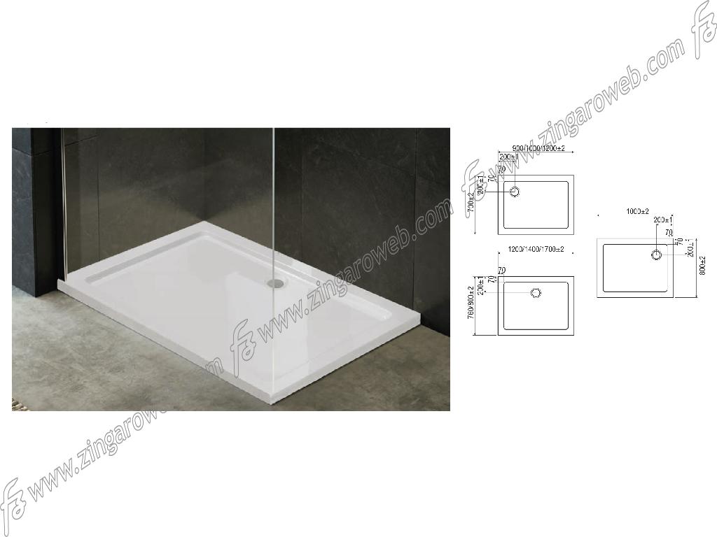 PIATTO DOCCIA RETTANGOLARE ERESINA EASYFLAT BIANCO DA 100x70 x3,5 cm. prodotto da MITAL