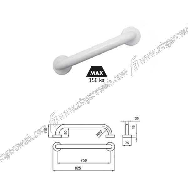 MANIGLIONE LINEARE PVC MEDICALE DI SICUREZZA Ø3,5 INTERASSE mm.600 BIANCO importato da MI.TO