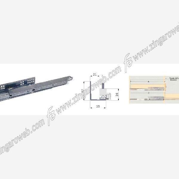 GUIDE INVISIBILE AMMORTIZZATA ESTRAZIONE TOTALE CON CLIPS DA 50 cm. prodotto da OMGE