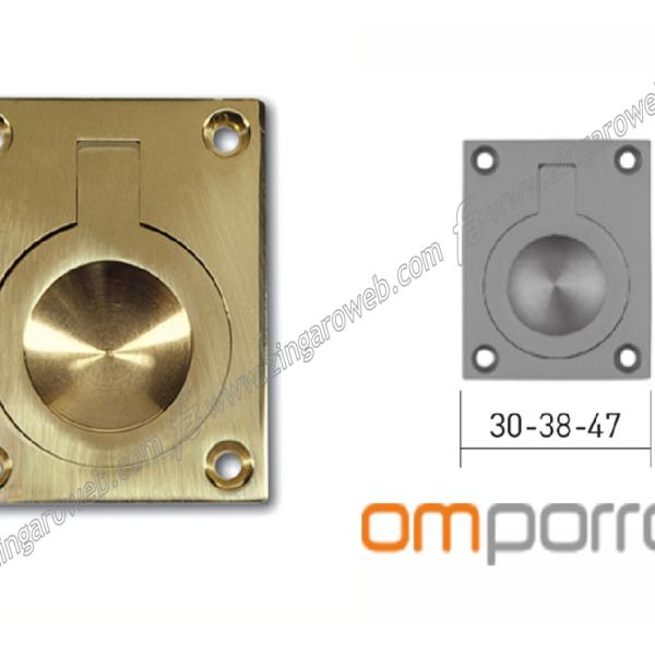 MANIGLIA DA INCASSO RETTANGOLARE CON ANELLO DA 40x30 mm. LUCIDO prodotta da OMP PORRO