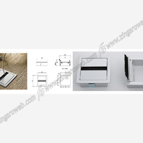 PASSACAVI QUADRATO ALLUMINIO CON ALETTE 78x78 mm. FORO 74 mm. METALIZZATO ZINCO OPACO prodotto da PAMAR