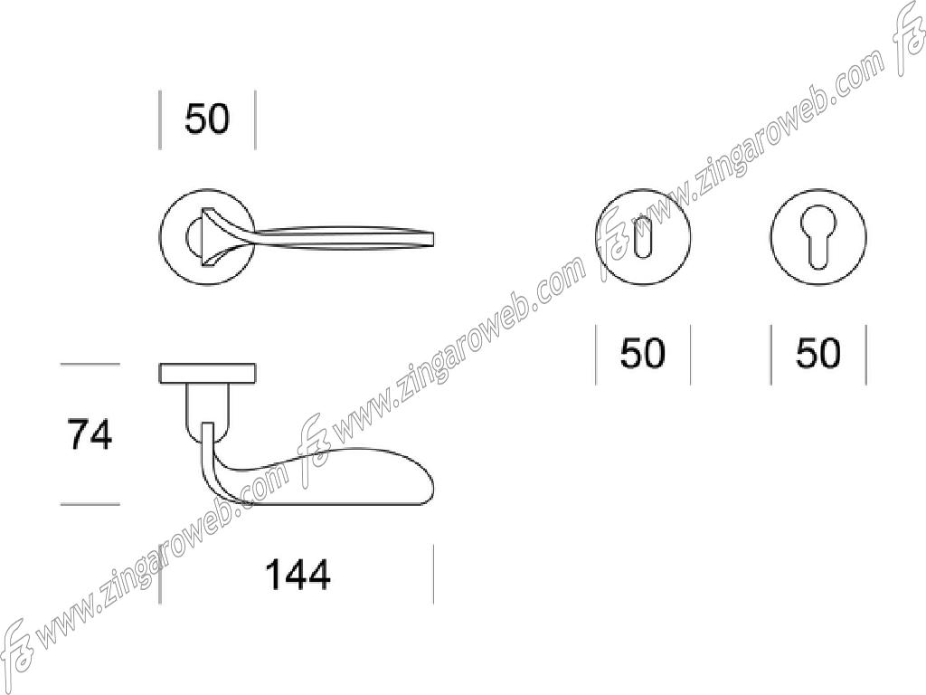 MANIGLIA SCILLA ROSETTA TONDA DA 50x10 mm. FORO CHIAVE prodotta da ENTO