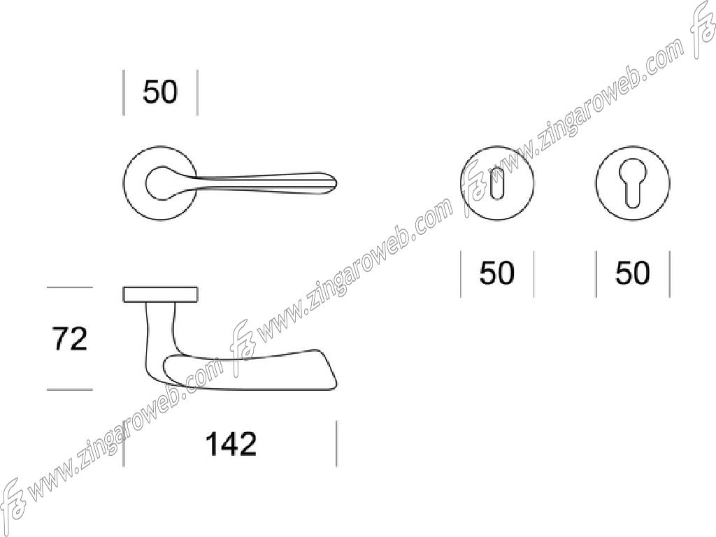 MANIGLIA DAFNE ROSETTA TONDA DA 50x10 mm. FORO CHIAVE prodotta da ENTO